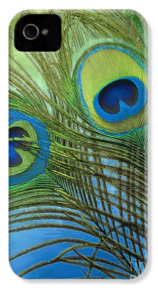 Peacock Candy Blue And Green IPhone 4s Case by Mindy Sommers