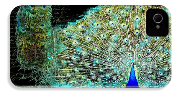 Peacock Pair On Tree Branch Tail Feathers IPhone 4s Case by Audrey Jeanne Roberts