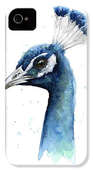 Peacock Watercolor IPhone 4s Case by Olga Shvartsur