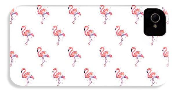 Pink Flamingo Watercolor Pattern IPhone 4s Case by Olga Shvartsur