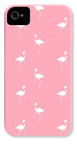 Pink Flamingos Pattern IPhone 4s Case by Christina Rollo