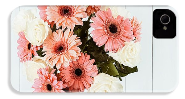 Pink Gerbera Daisy Flowers And White Roses Bouquet IPhone 4s Case by Radu Bercan