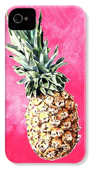 Pink Pineapple Bright Fruit Still Life Healthy Living Yoga Inspiration Tropical Island Kawaii Cute IPhone 4s Case by Laura Row