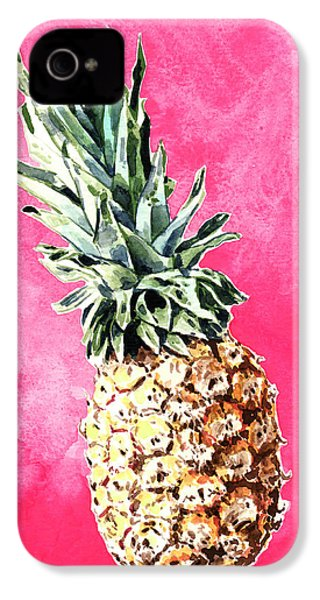 Pink Pineapple Bright Fruit Still Life Healthy Living Yoga Inspiration Tropical Island Kawaii Cute IPhone 4s Case