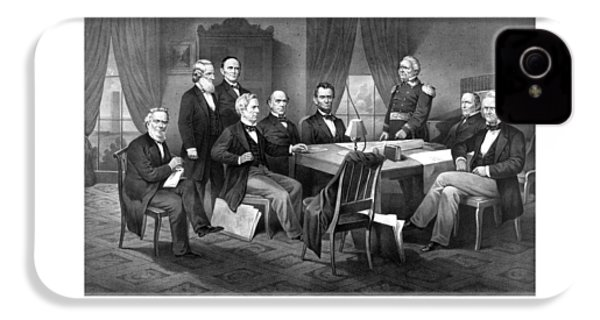 President Lincoln His Cabinet And General Scott IPhone 4s Case by War Is Hell Store