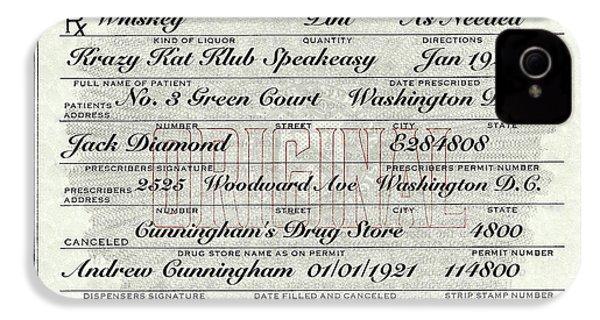 IPhone 4s Case featuring the photograph Prohibition Prescription Certificate Krazy Kat Klub by David Patterson