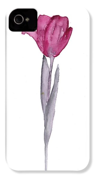 Purple Tulip Botanical Artwork Poster IPhone 4s Case by Joanna Szmerdt