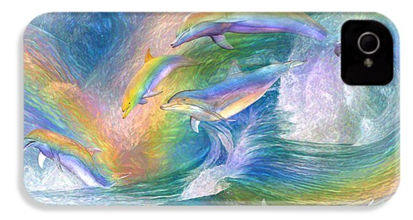Rainbow Dolphins IPhone 4s Case by Carol Cavalaris
