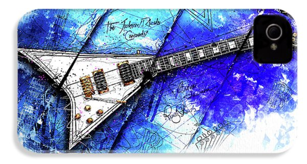 Randy's Guitar On Blue II IPhone 4s Case