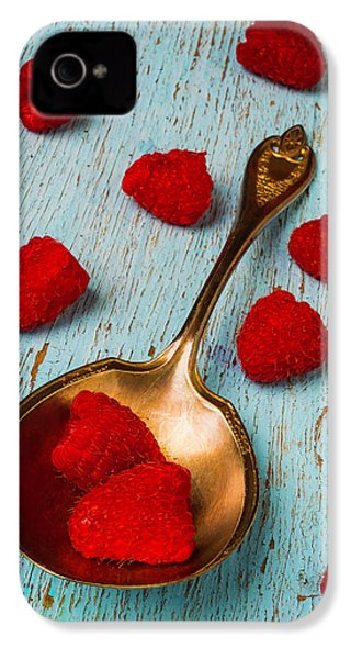 Raspberries With Antique Spoon IPhone 4s Case by Garry Gay