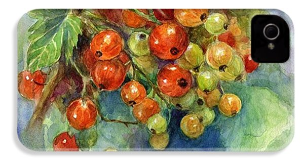 Red Currants Berries Watercolor IPhone 4s Case