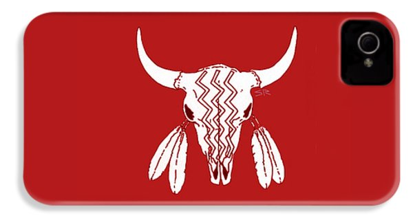 Red Ghost Dance Buffalo IPhone 4s Case by Steamy Raimon