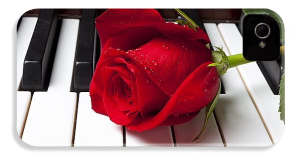 Red Rose On Piano Keys IPhone 4s Case by Garry Gay