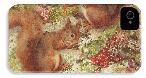 Red Squirrels Gathering Fruits And Nuts IPhone 4s Case by Rosa Jameson