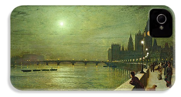 Reflections On The Thames IPhone 4s Case by John Atkinson Grimshaw