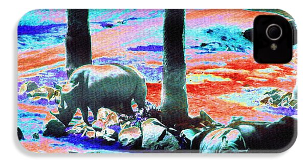Rhinos Having A Picnic IPhone 4s Case by Abstract Angel Artist Stephen K