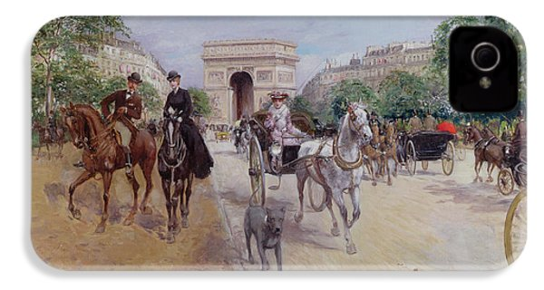 Riders And Carriages On The Avenue Du Bois IPhone 4s Case by Georges Stein