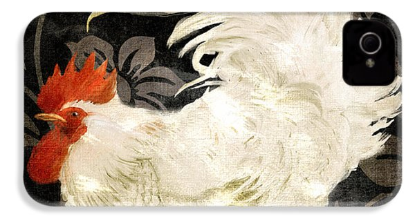 Rooster Damask Dark IPhone 4s Case by Mindy Sommers