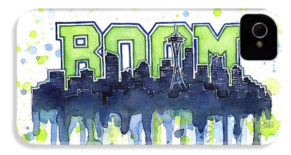 Seattle 12th Man Legion Of Boom Watercolor IPhone 4s Case by Olga Shvartsur