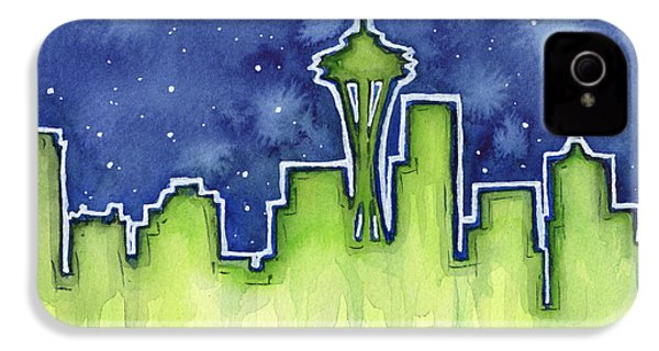 Seattle Night Sky Watercolor IPhone 4s Case by Olga Shvartsur