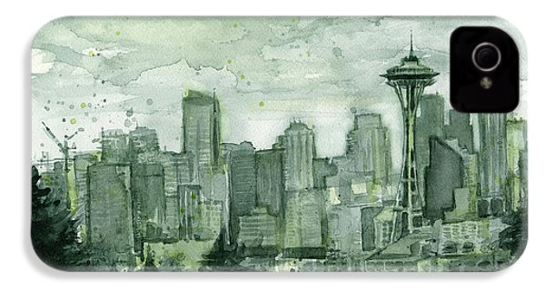 Seattle Skyline Watercolor Space Needle IPhone 4s Case by Olga Shvartsur