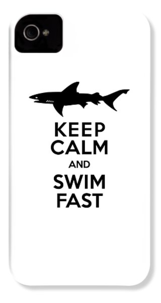 Sharks Keep Calm And Swim Fast IPhone 4s Case by Antique Images