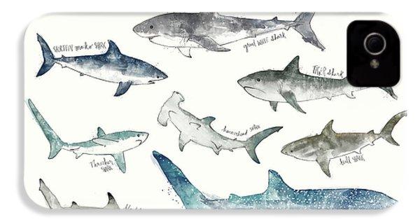 Sharks - Landscape Format IPhone 4s Case by Amy Hamilton