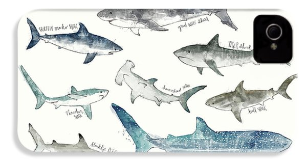 Sharks - Landscape Format IPhone 4s Case by Amy Hamilton