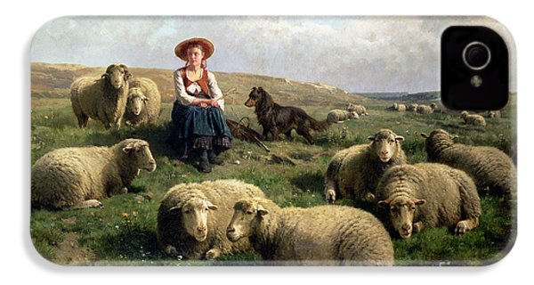Shepherdess With Sheep In A Landscape IPhone 4s Case by C Leemputten and T Gerard