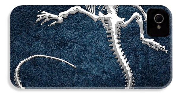 Silver Iguana Skeleton On Blue Silver Iguana Skeleton On Blue  IPhone 4s Case