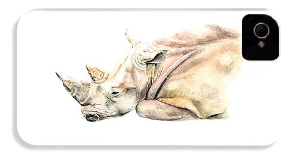 Small Colour Rhino IPhone 4s Case by Elizabeth Lock