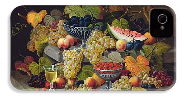 Still Life Of Melon Plums Grapes Cherries Strawberries On Stone Ledge IPhone 4s Case