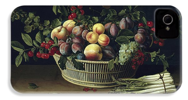 Still Life With A Basket Of Fruit And A Bunch Of Asparagus IPhone 4s Case by Louise Moillon