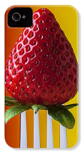 Strawberry On Fork IPhone 4s Case by Garry Gay