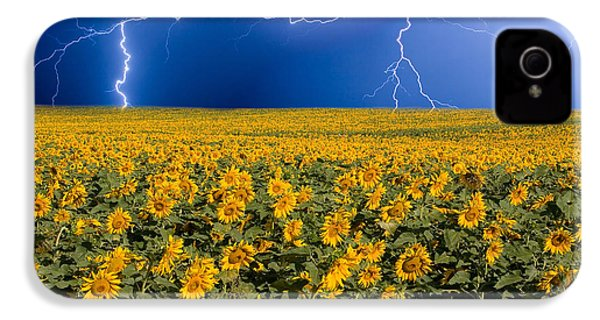 Sunflower Lightning Field  IPhone 4s Case by James BO  Insogna