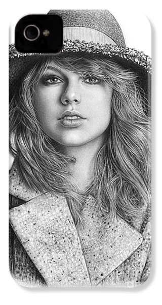 Taylor Swift Portrait Drawing IPhone 4s Case by Shierly Lin