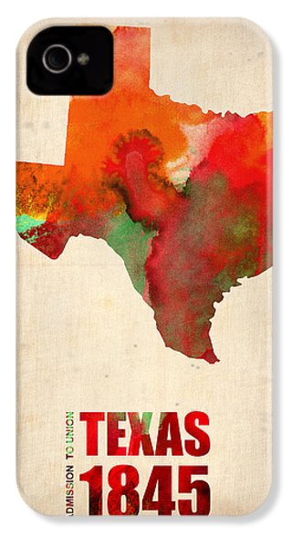 Texas Watercolor Map IPhone 4s Case by Naxart Studio