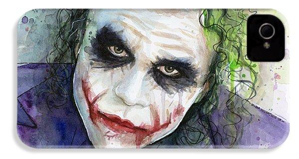 The Joker Watercolor IPhone 4s Case by Olga Shvartsur