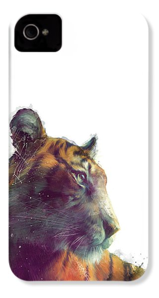 Tiger // Solace - White Background IPhone 4s Case by Amy Hamilton