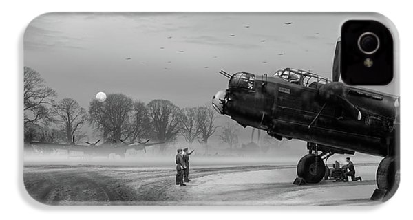 IPhone 4s Case featuring the photograph Time To Go - Lancasters On Dispersal Bw Version by Gary Eason