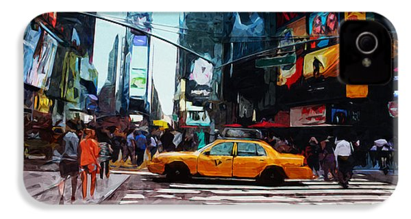 Times Square Taxi- Art By Linda Woods IPhone 4s Case by Linda Woods