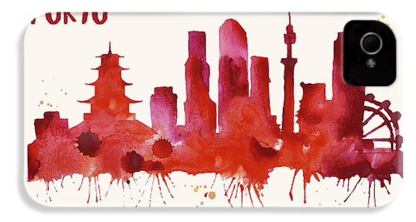 Tokyo Skyline Watercolor Poster - Cityscape Painting Artwork IPhone 4s Case by Beautify My Walls