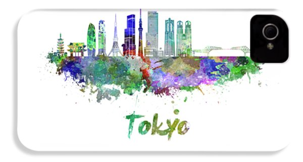 Tokyo V3 Skyline In Watercolor IPhone 4s Case by Pablo Romero