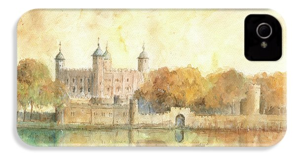 Tower Of London Watercolor IPhone 4s Case by Juan Bosco