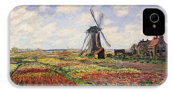 Tulip Fields With The Rijnsburg Windmill IPhone 4s Case by Claude Monet