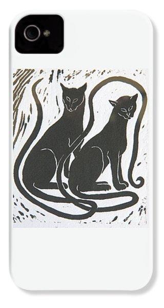 Two Black Felines IPhone 4s Case by Nareeta Martin