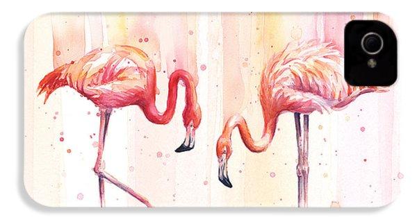 Two Flamingos Watercolor IPhone 4s Case by Olga Shvartsur