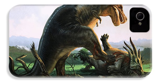 Tyrannosaurus Rex Eating A Styracosaurus IPhone 4s Case by William Francis Phillipps