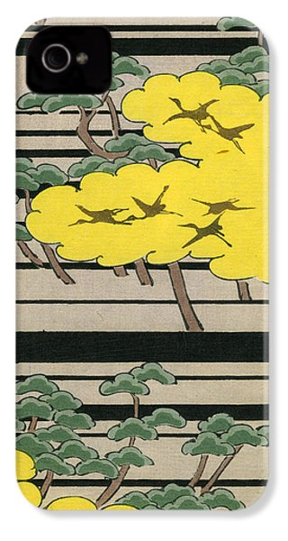 Vintage Japanese Illustration Of An Abstract Forest Landscape With Flying Cranes IPhone 4s Case by Japanese School