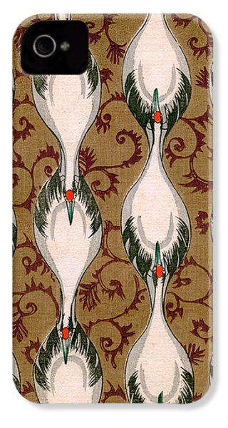 Vintage Japanese Illustration Of Cranes Flying IPhone 4s Case by Japanese School